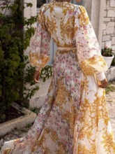 African Fashion Print Floor-Length Long Sleeve Mid Waist Women's Dress