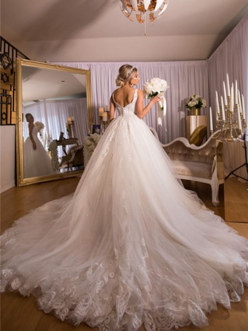 Ball Gown V-Neck Sleeveless Floor-Length Hall Wedding Dress 2021