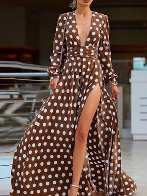 Polka Dots Long Sleeve Split Floor-Length V-Neck Mid Waist Women's Dress
