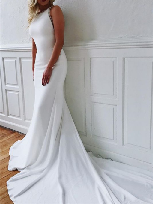 Beading Floor-Length Scoop Sleeveless Church Wedding Dress 2021