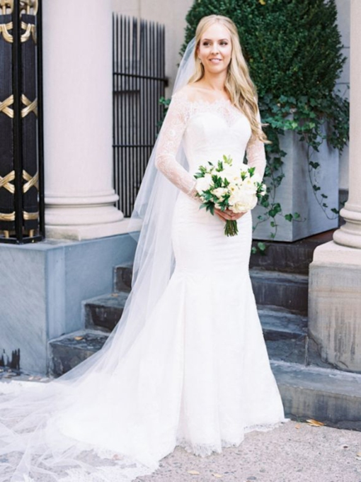 Long Sleeves Off-The-Shoulder Button Church Wedding Dress 2021
