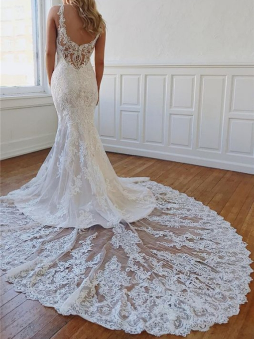 Appliques Trumpet Mermaid Floor-Length Chapel Hall Wedding Dress 2021