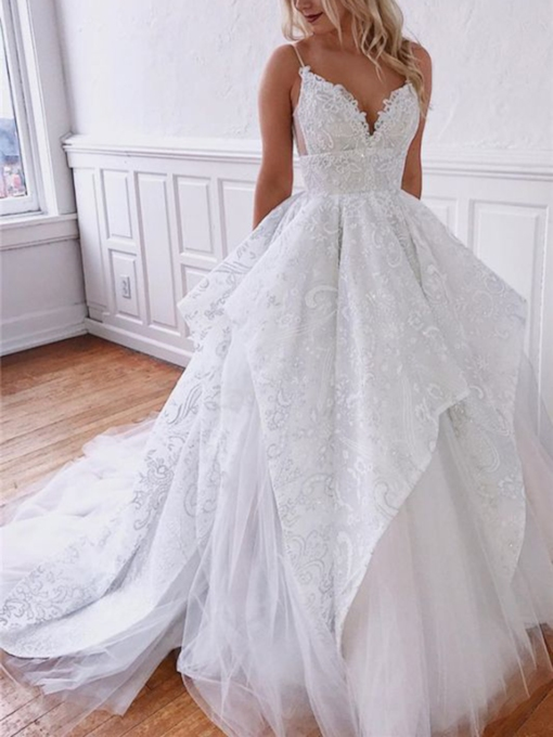 Ball Gown Sleeveless Floor-Length Sweep Brush Hall Wedding Dress 2021