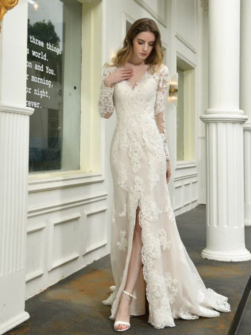 Floor-Length Long Sleeves V-Neck Split-Front Beach Wedding Dress 2021