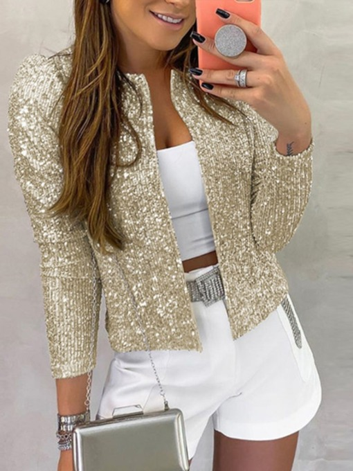 Straight Long Sleeve Standard Sequins Women's Jacket