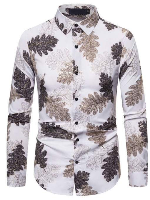 Plant Casual Print Lapel Single-Breasted Men's Shirt