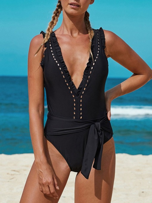 One Piece Plain Sexy Slim V-Neck Women's Swimwear