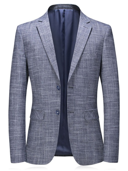 Slim Notched Lapel Formal Single-Breasted Men's Blazer
