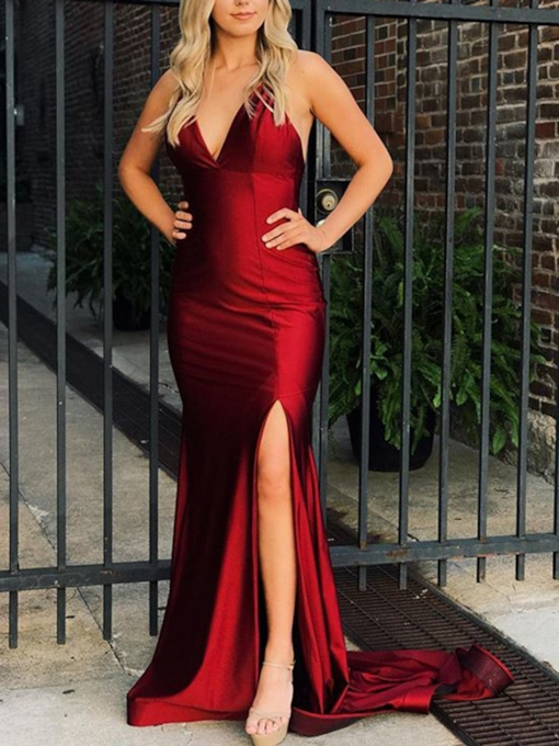 Floor-Length Trumpet Mermaid Spaghetti Straps Evening Dress 2021