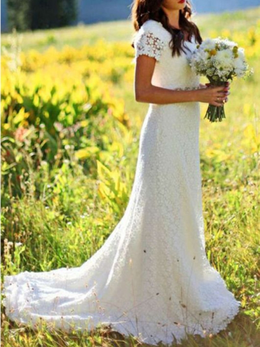 Beading Floor-Length Short Sleeves Sweep/Brush Church Wedding Dress 2021