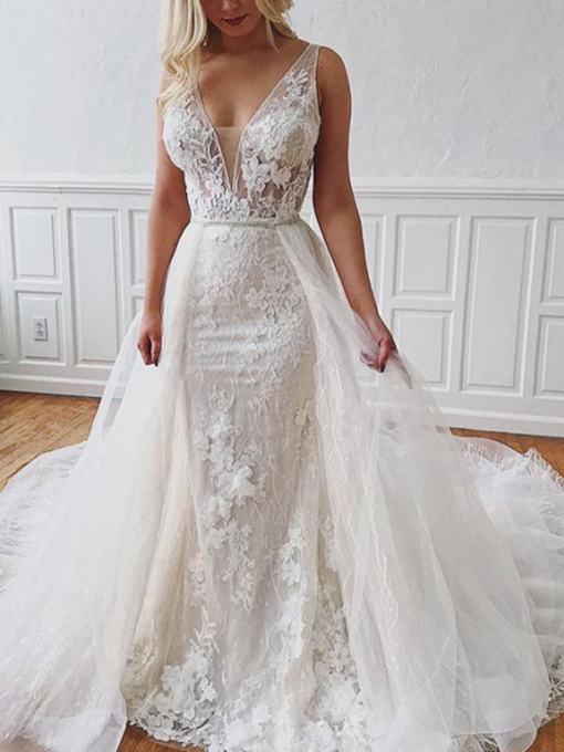 Floor-Length Watteau Appliques V-Neck Church Wedding Dress 2021