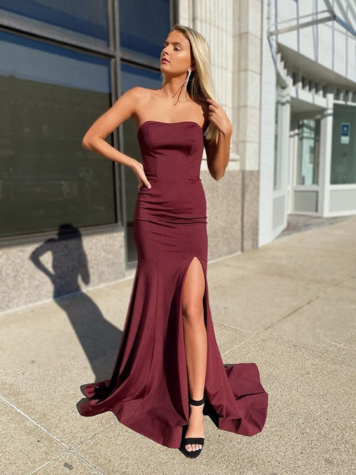 Floor-Length Sweep Brush Sheath Column Strapless Evening Dress 2020