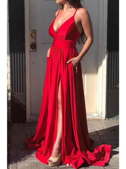 Split-Front Floor-Length Spaghetti Straps A-Line Evening Dress 2020