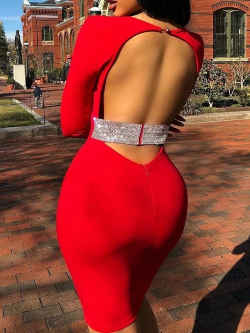 Backless Above Knee Long Sleeve Party/Cocktail Women's Dress