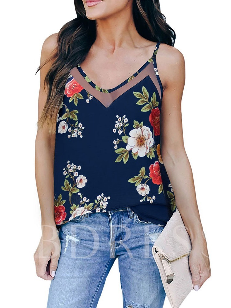 Floral Spaghetti Straps Polyester Standard Casual Women's Tank Top