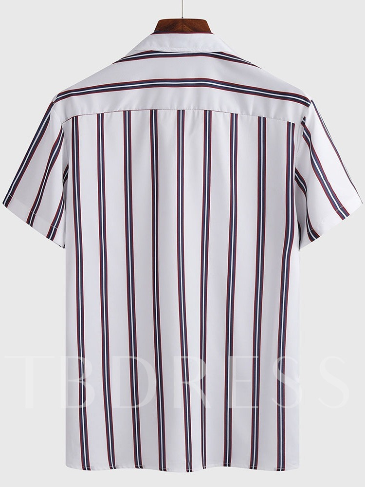 Casual Stripe Lapel Print Loose Men's Shirt
