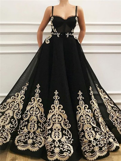 Ball Gown Straps Floor-Length Appliques Formal Dress 2021