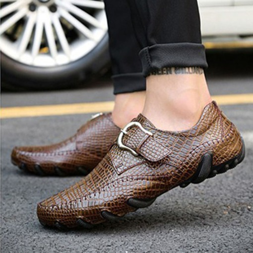 Low-Cut Upper Flat With Round Toe Leather Shoes