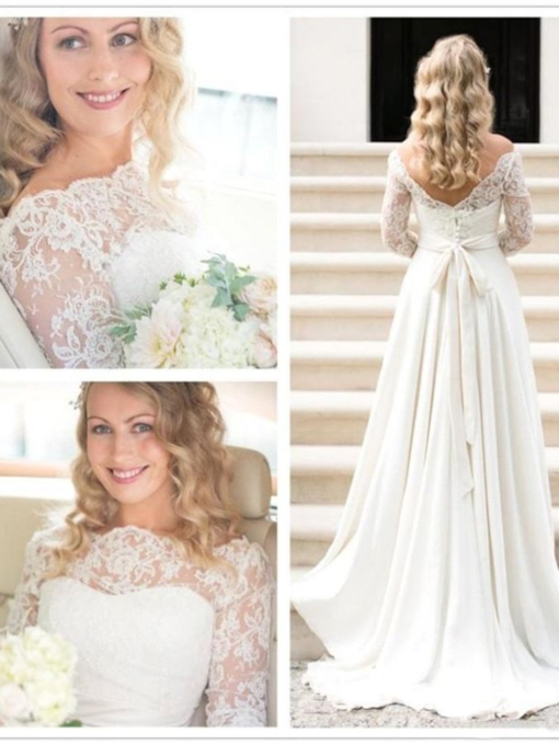 Off-The-Shoulder Long Sleeves Sweep Ribbons Garden Outdoor Wedding Dress 2021