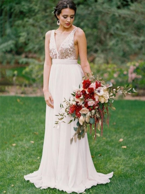 Sequins Floor-Length Sleeveless V-Neck Garden Outdoor Wedding Dress 2021