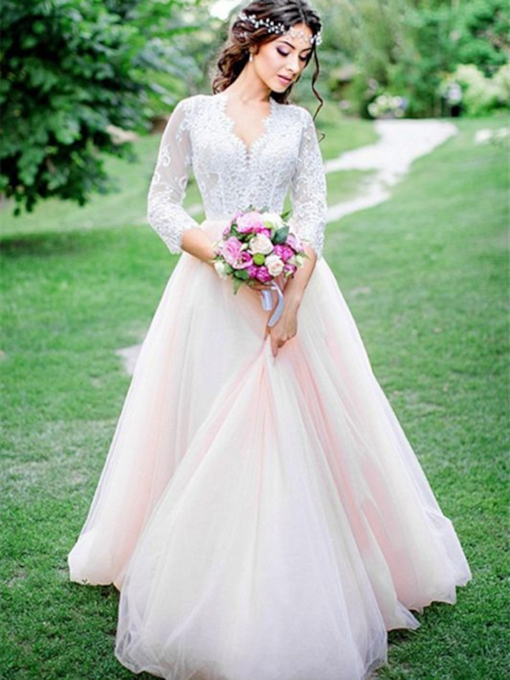 V-Neck A-Line 3/4 Length Sleeves Appliques Garden Outdoor Wedding Dress 2021