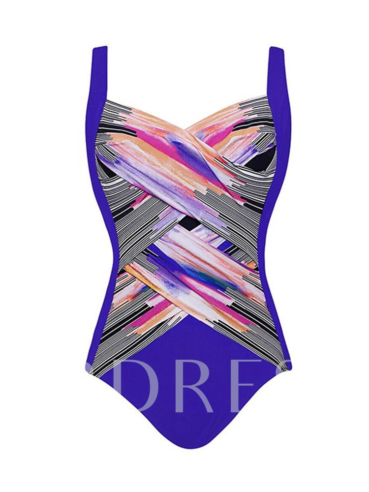 One Piece Color Block Print Women's Swimwear