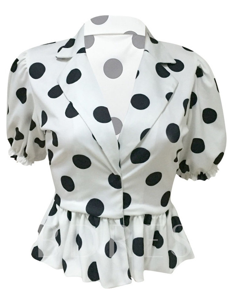 Polka Dots Short Slim Hidden Button Women's Blouse