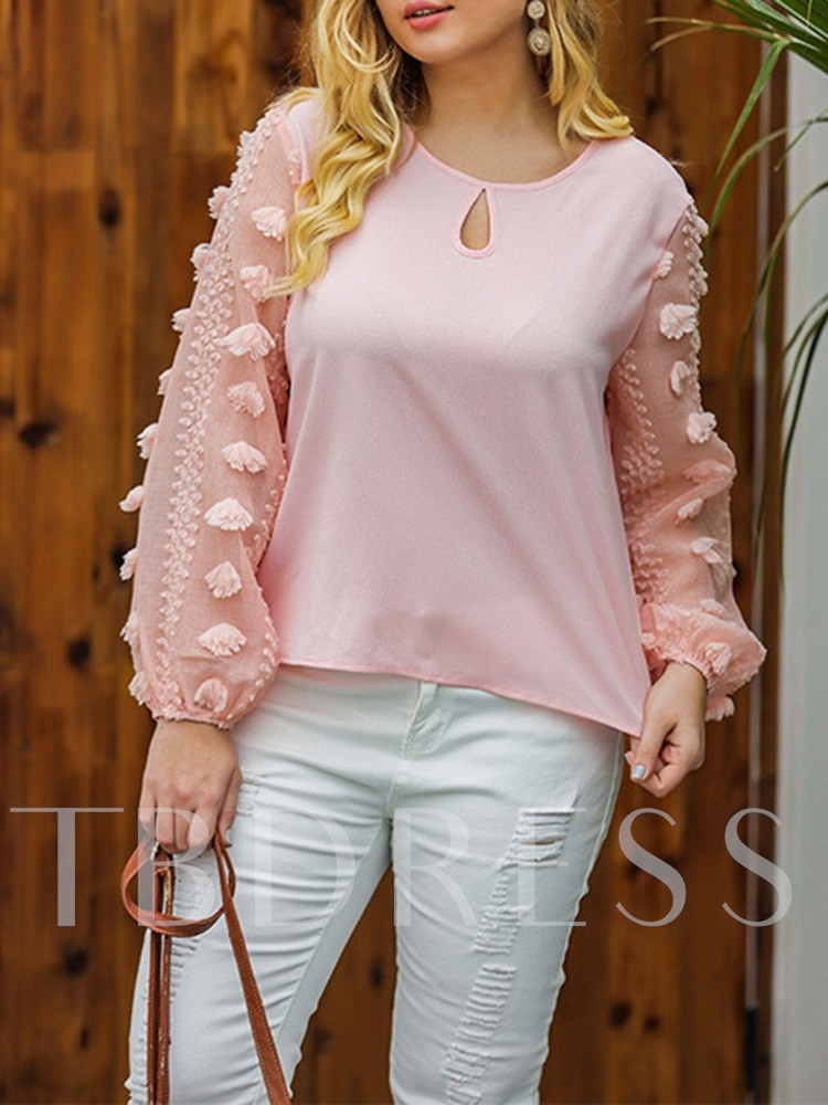 Plus Size Loose Round Neck Long Sleeve Women's Blouse