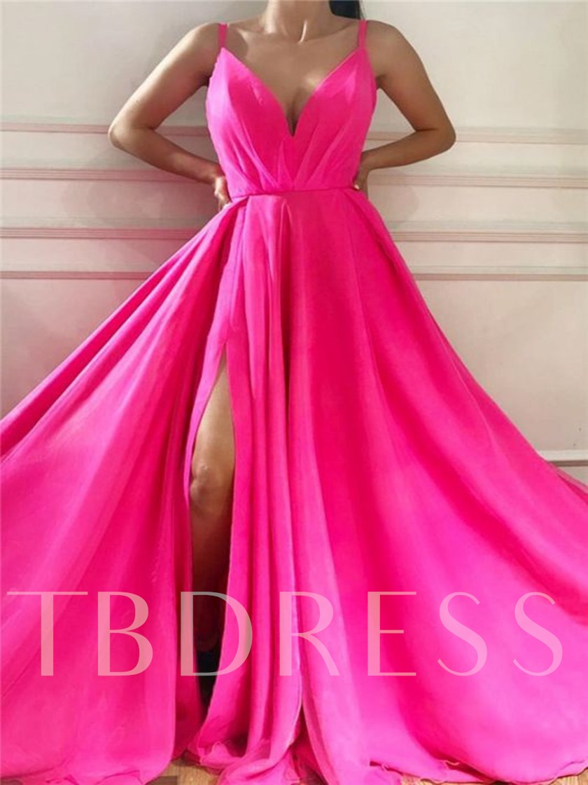 Floor-Length Straps A-Line Chiffon Formal Dress 2020