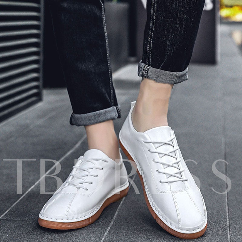 Flat With Low-Cut Upper Plain PU Leather Shoes