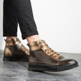 Round Toe Lace-Up Front Platform PU Boots