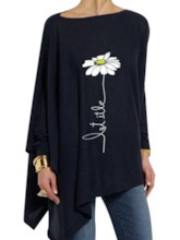 Mid-Length Nine Points Sleeve Floral Casual Women's T-Shirt