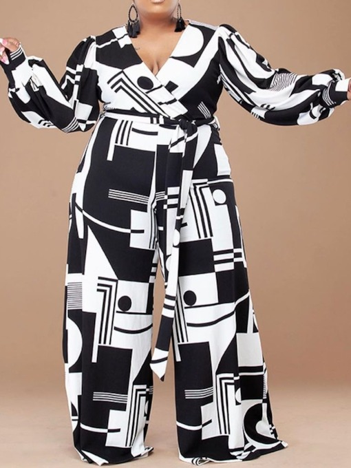 Full Length Casual Print Color Block Mid Waist Women's Jumpsuit
