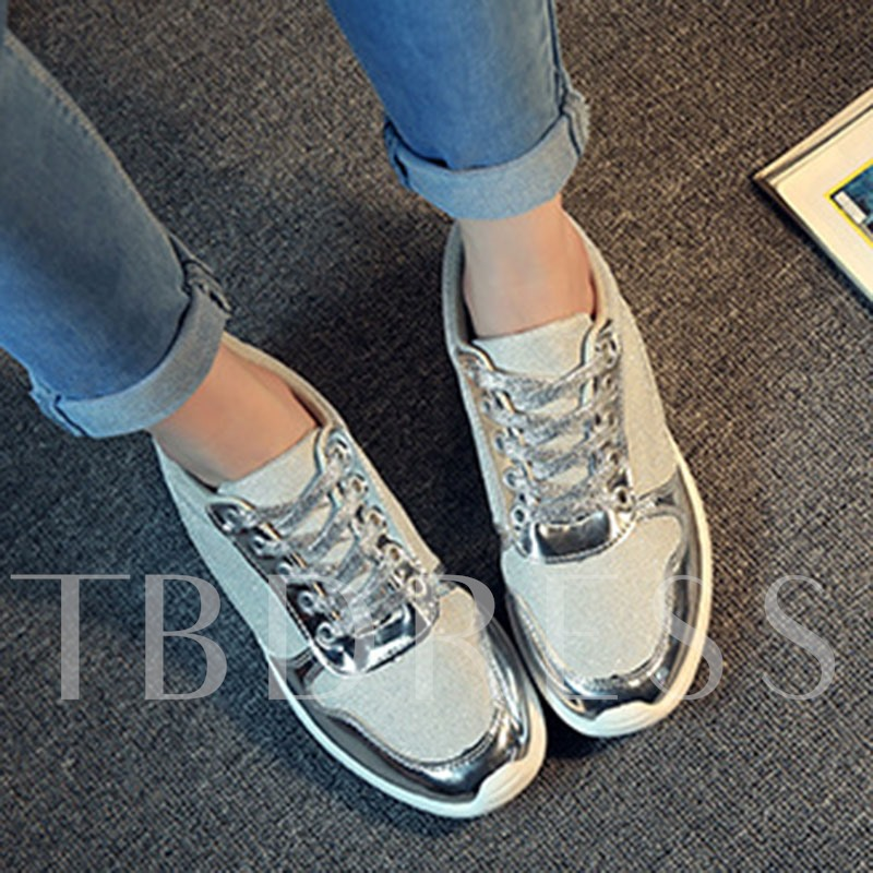 Lace-Up Round Toe Low-Cut Upper Thread Flat With Sneakers