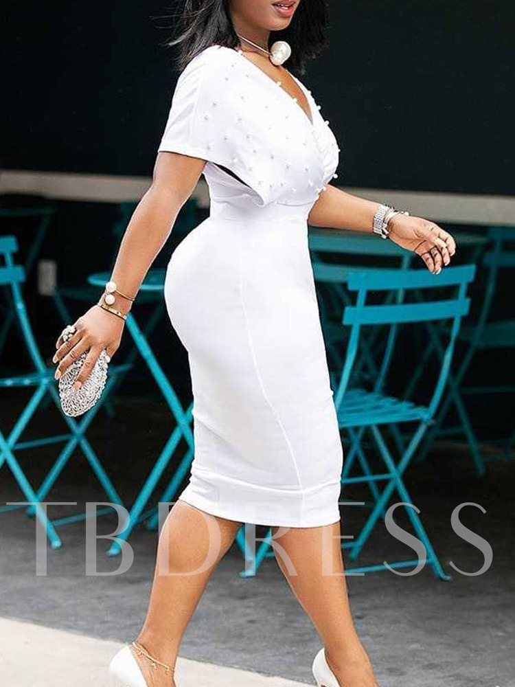 Short Sleeve V-Neck Mid-Calf Bead High Waist Women's Dress