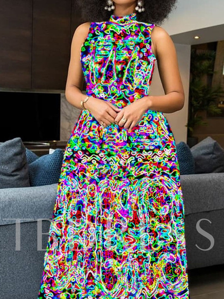Sleeveless Print Floor-Length Stand Collar Color Block Women's Dress