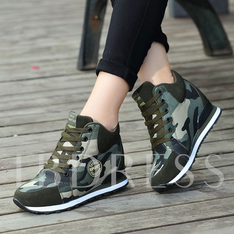 Mid-Cut Upper Round Toe Lace-Up Thread Casual Sneakers