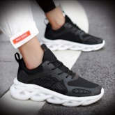 Low-Cut Upper Lace-Up Flat With Mesh Sneakers