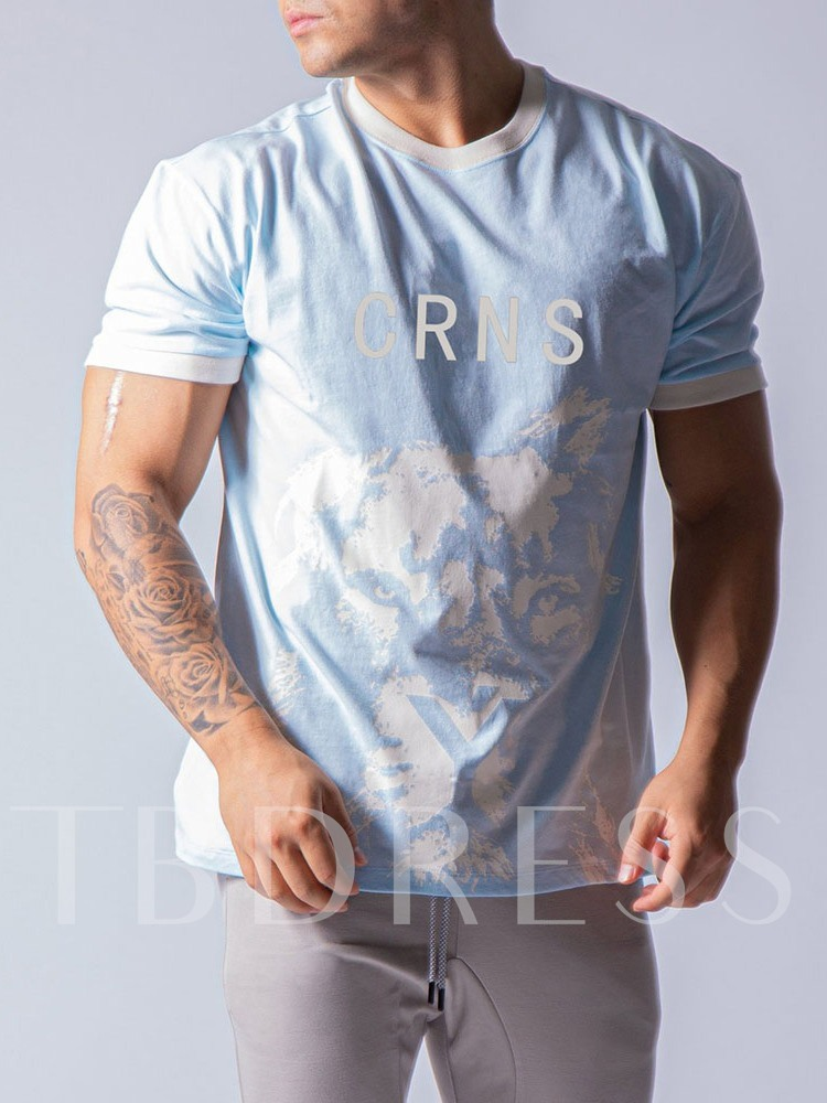 Letter Casual Round Neck Print Loose Men's T-shirt