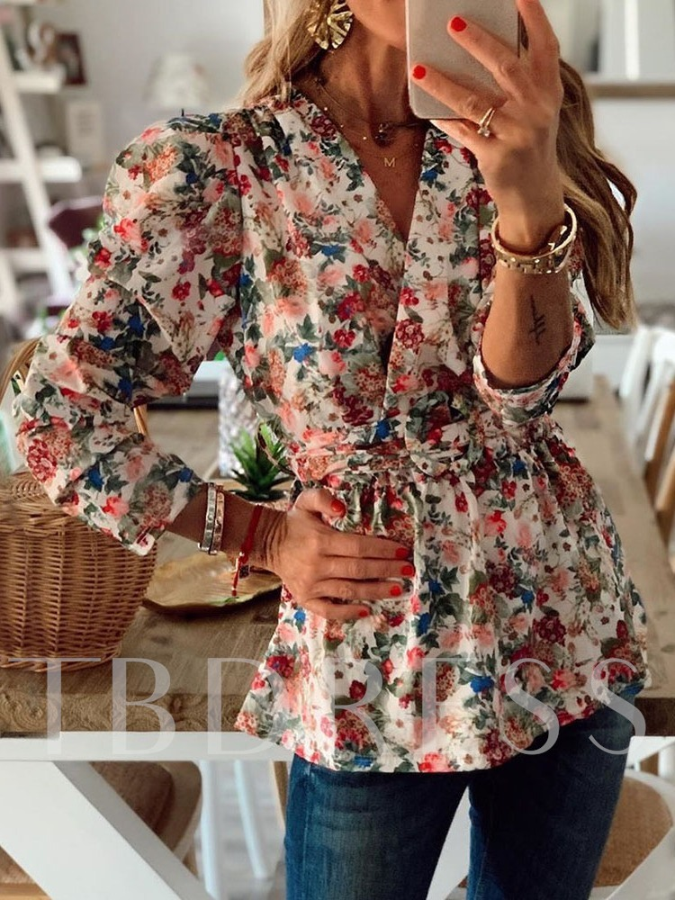 Puff Sleeve Print Floral V-Neck Nine Points Sleeve Women's Blouse