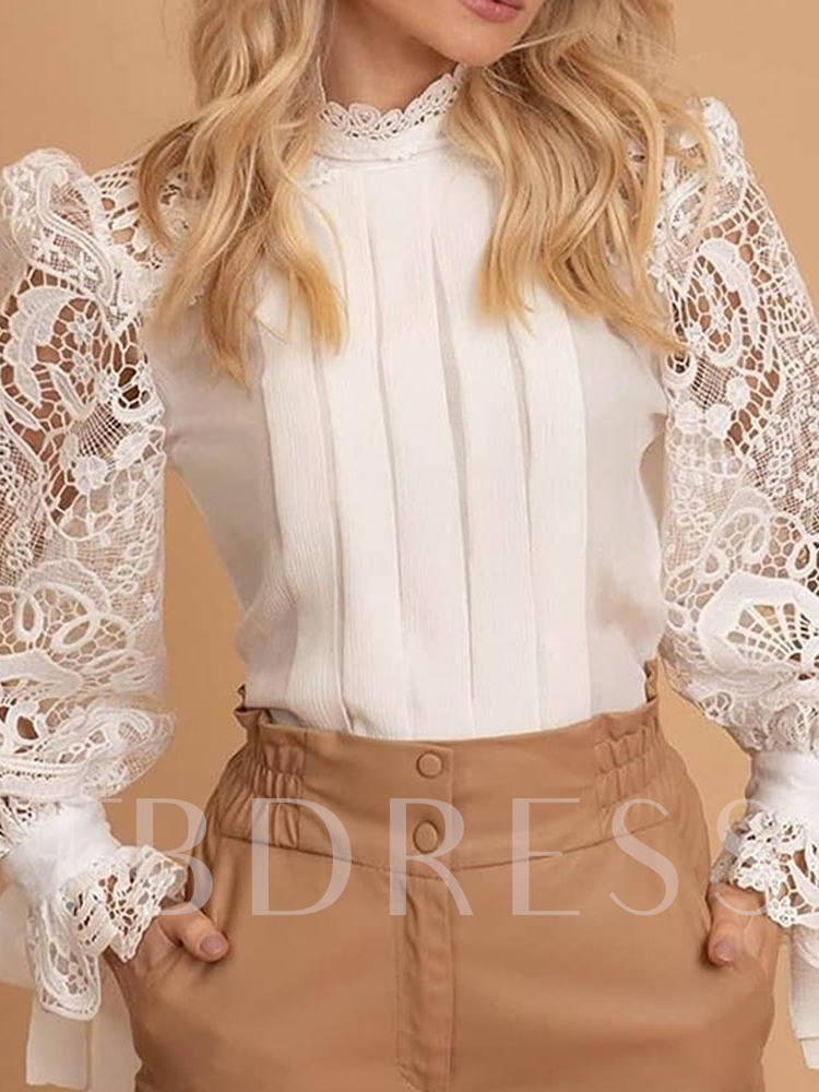 Lace Princess Sleeve Stand Collar Plain Standard Women's Blouse