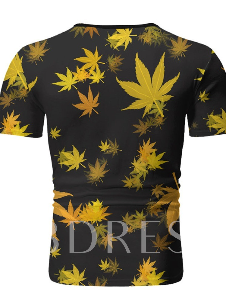 Round Neck Casual Plant Print Short Sleeve Men's T-shirt
