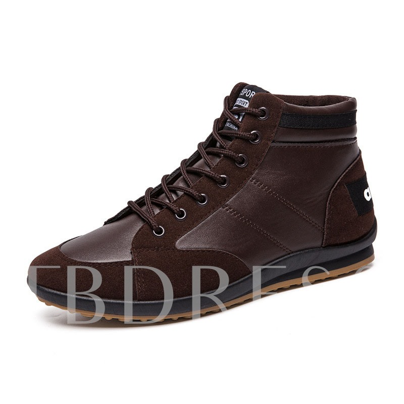 Flat With Lace-Up Mid-Cut Upper Round Toe Skate Shoes