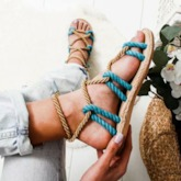 Lace-Up Flat With Open Toe Cross Strap Sandals