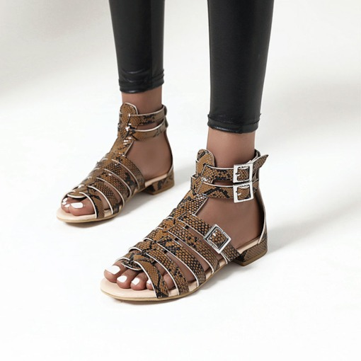 Buckle Heel Covering Block Heel Open Toe Casual Sandals