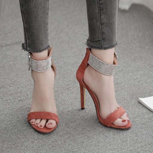 Zipper Open Toe Heel Covering Stiletto Heel Casual Sandals