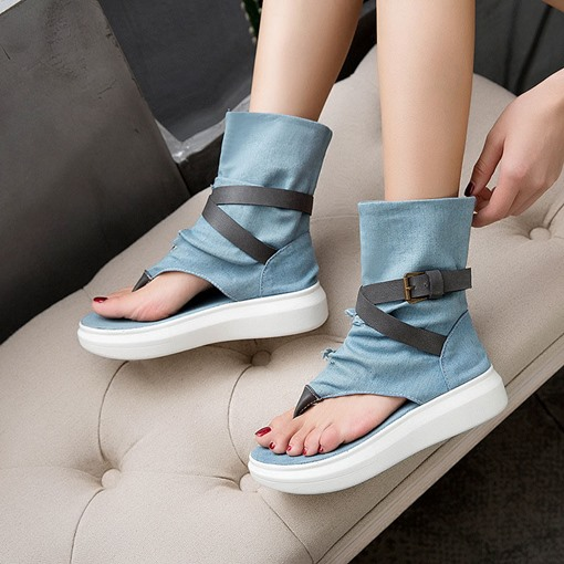 Slip-On Thong Patchwork Flat With PU Boots