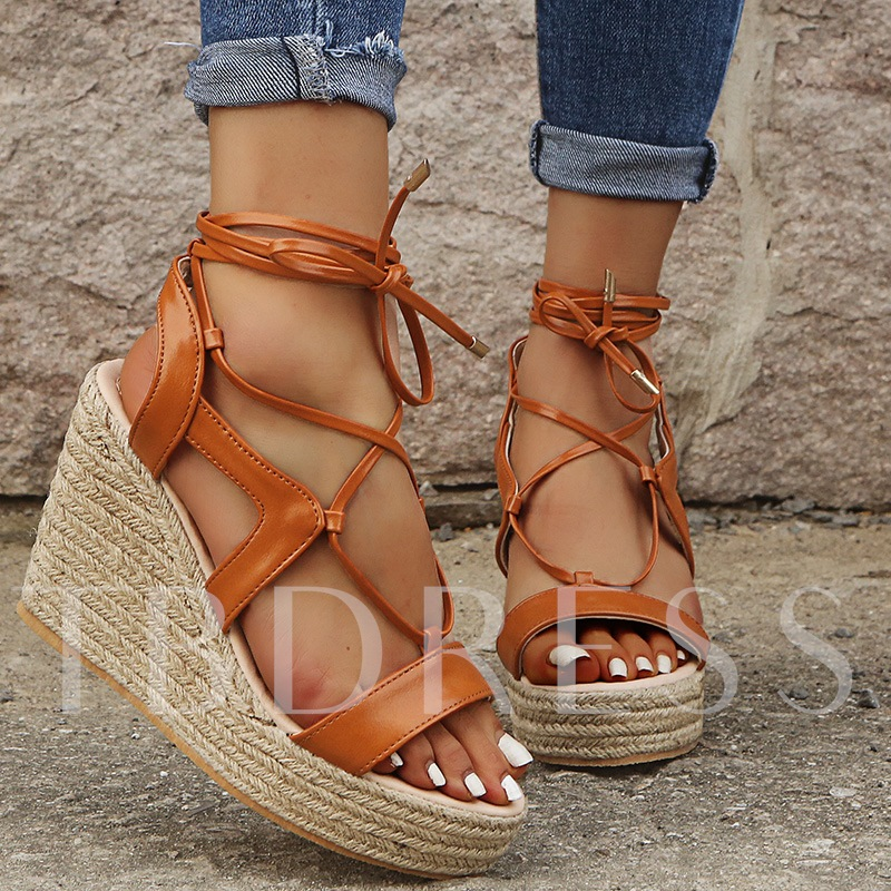 Lace-Up Open Toe Wedge Heel Casual Sandals