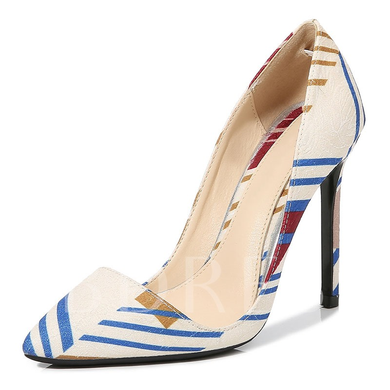 Thread Pointed Toe Slip-On Stiletto Heel Color Block Thin Shoes