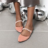Beads Flip Flop Block Heel Slip-On Plain Slippers